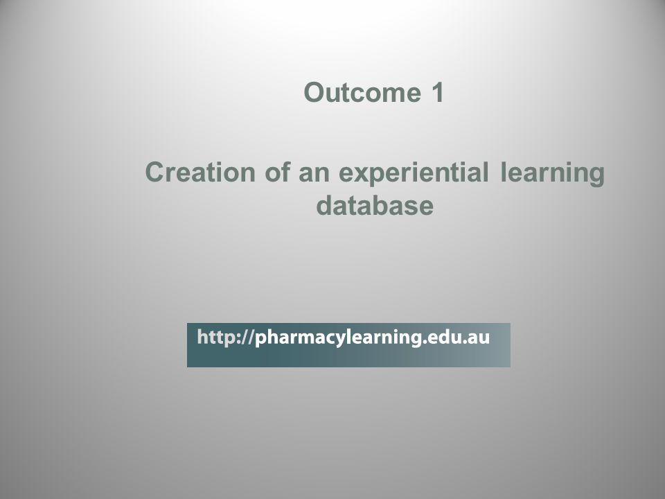 Outcome 1 Creation of an experiential learning database