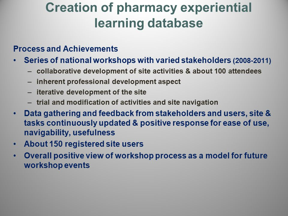 Creation of pharmacy experiential learning database Process and Achievements Series of national workshops with varied stakeholders (2008-2011) –collab