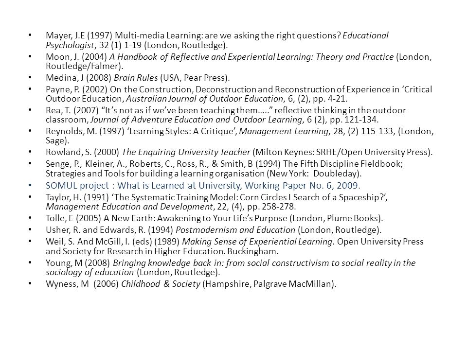 Mayer, J.E (1997) Multi-media Learning: are we asking the right questions.
