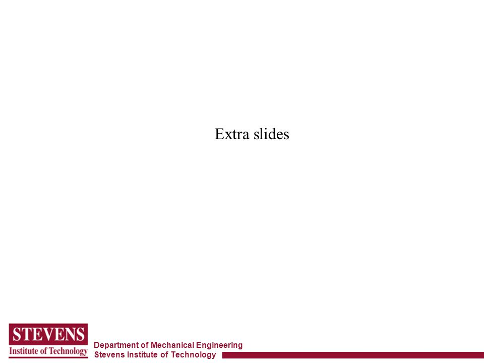 Department of Mechanical Engineering Stevens Institute of Technology Extra slides