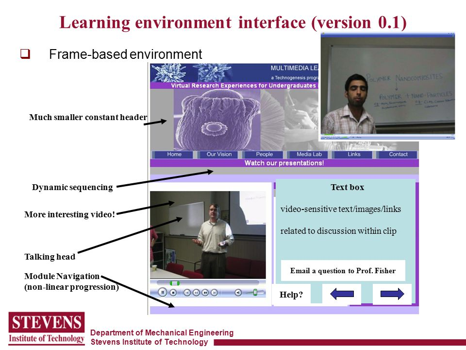 Department of Mechanical Engineering Stevens Institute of Technology  Frame-based environment Learning environment interface (version 0.1) Talking head Module Navigation (non-linear progression) Text box video-sensitive text/images/links related to discussion within clip Dynamic sequencing Help.