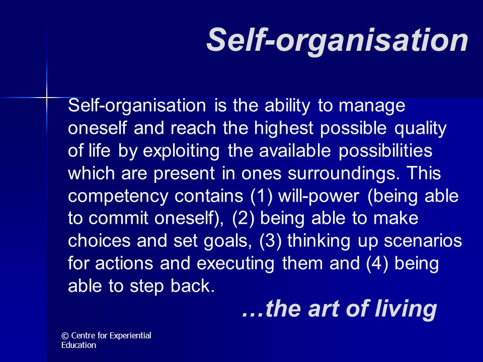© Centre for Experiential Education Self-organisation Self-organisation is the ability to manage oneself and reach the highest possible quality of lif
