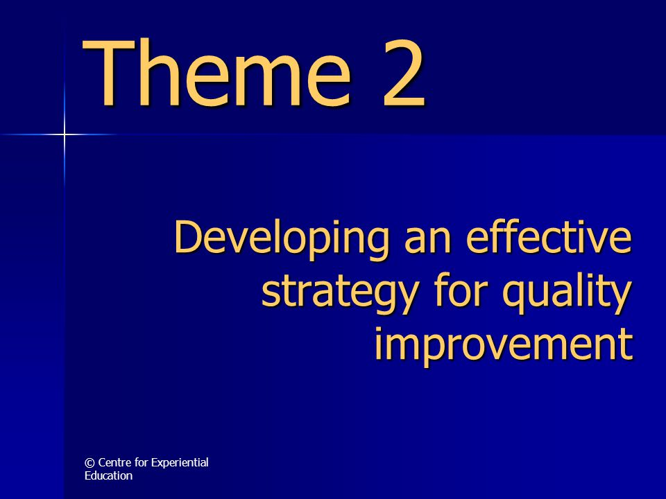 © Centre for Experiential Education Developing an effective strategy for quality improvement Theme 2