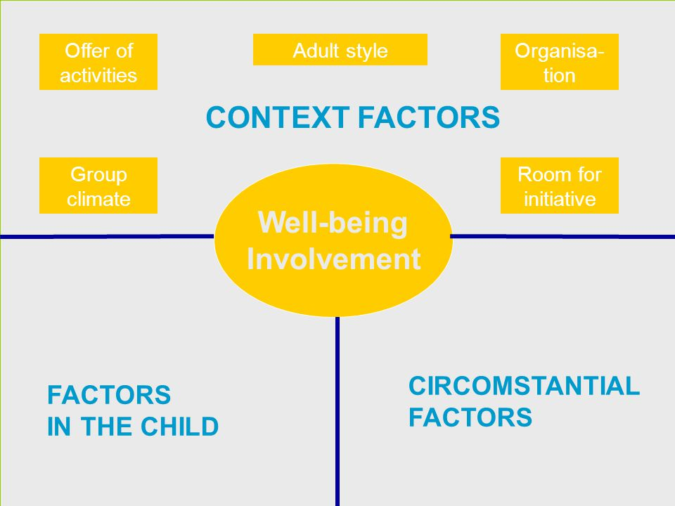CONTEXT FACTORS Well-being Involvement CIRCOMSTANTIAL FACTORS IN THE CHILD Group climate Adult style Room for initiative Offer of activities Organisa-