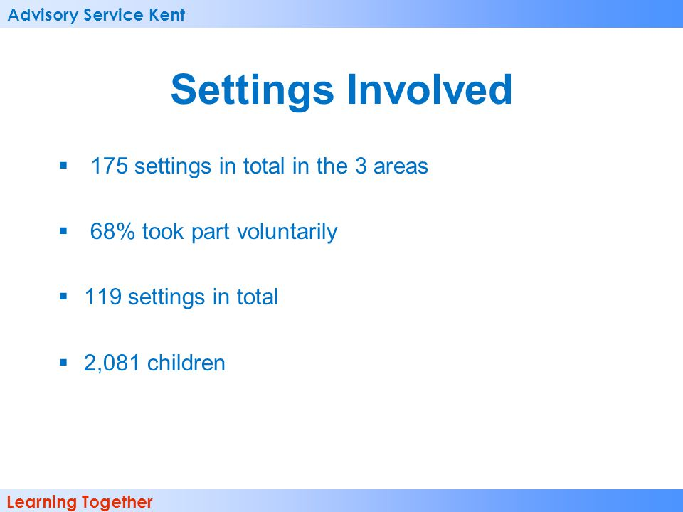 Advisory Service Kent Learning Together Settings Involved  175 settings in total in the 3 areas  68% took part voluntarily  119 settings in total  2,081 children