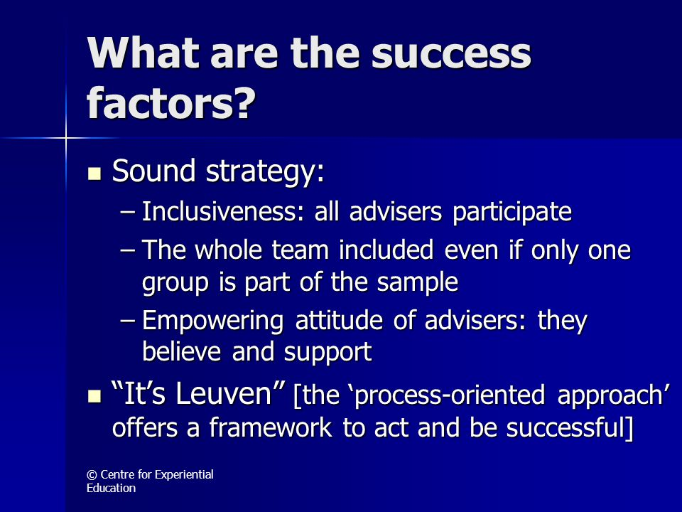 © Centre for Experiential Education What are the success factors.