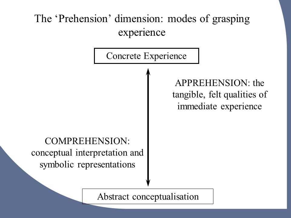 Concrete Experience Abstract conceptualisation The 'Prehension' dimension: modes of grasping experience APPREHENSION: the tangible, felt qualities of immediate experience COMPREHENSION: conceptual interpretation and symbolic representations