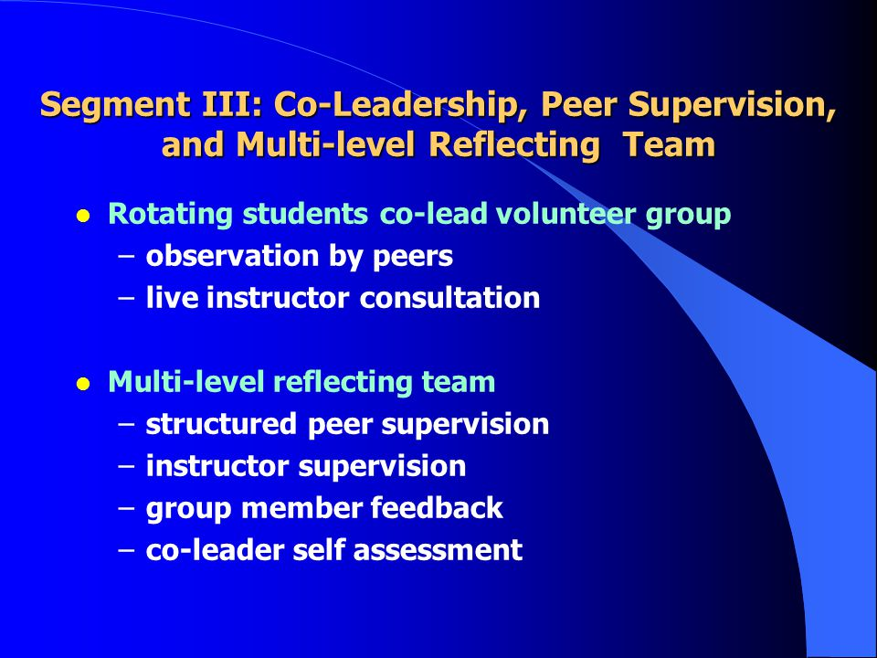Segment III: Co-Leadership, Peer Supervision, and Multi-level Reflecting Team l Rotating students co-lead volunteer group –observation by peers –live instructor consultation l Multi-level reflecting team –structured peer supervision –instructor supervision –group member feedback –co-leader self assessment