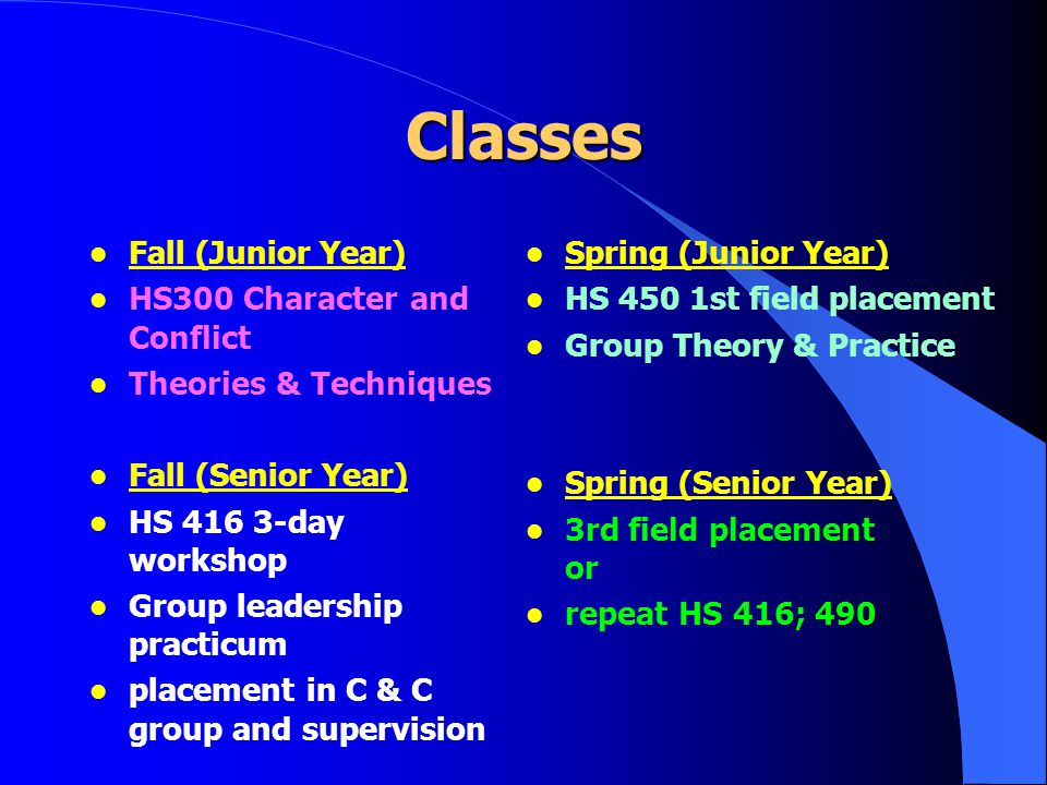 Classes l Fall (Junior Year) l HS300 Character and Conflict l Theories & Techniques l Fall (Senior Year) l HS 416 3-day workshop l Group leadership practicum l placement in C & C group and supervision l Spring (Junior Year) l HS 450 1st field placement l Group Theory & Practice l Spring (Senior Year) l 3rd field placement or l repeat HS 416; 490
