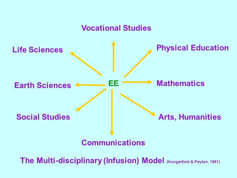 Vocational Studies Life Sciences Earth Sciences Social Studies Communications Arts, Humanities Mathematics Physical Education EE The Multi-disciplinary (Infusion) Model (Hungerford & Peyton, 1981)