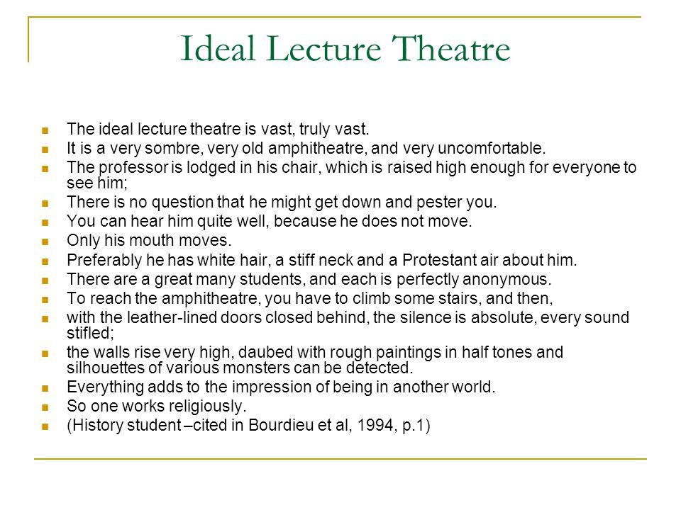 The LectureTheatre and Distance Education it would not be hard to adapt the first part of this picture to distance teaching – since the teacher is often far removed in time and space from the students, presenting knowledge in an academic discourse that the students have to learn.