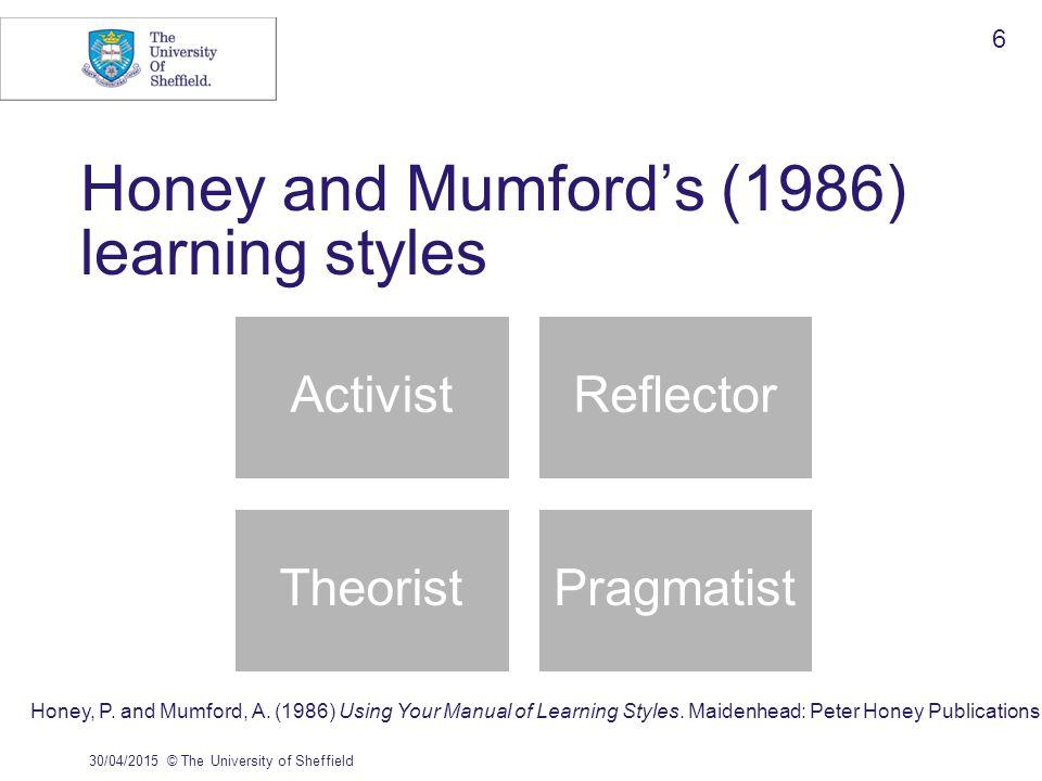 Honey and Mumford's (1986) learning styles 30/04/2015© The University of Sheffield 6 ActivistReflector TheoristPragmatist Honey, P.