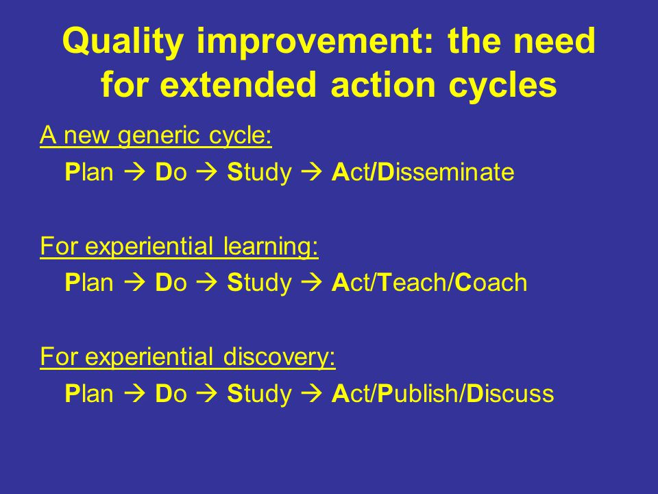 Quality improvement: the need for extended action cycles A new generic cycle: Plan  Do  Study  Act/Disseminate For experiential learning: Plan  Do  Study  Act/Teach/Coach For experiential discovery: Plan  Do  Study  Act/Publish/Discuss