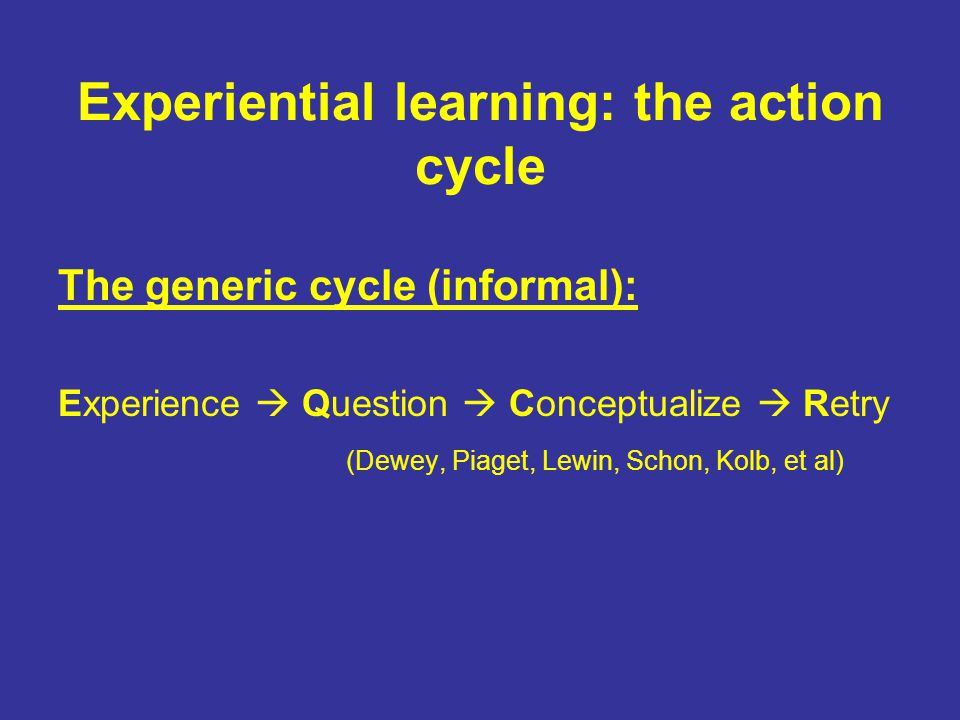 Experiential learning: the action cycle The generic cycle (informal): Experience  Question  Conceptualize  Retry (Dewey, Piaget, Lewin, Schon, Kolb, et al)