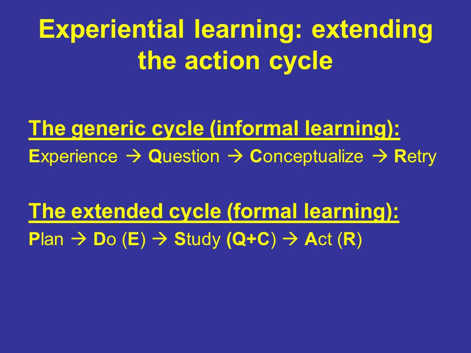Experiential learning: extending the action cycle The generic cycle (informal learning): Experience  Question  Conceptualize  Retry The extended cycle (formal learning): Plan  Do (E)  Study (Q+C)  Act (R)
