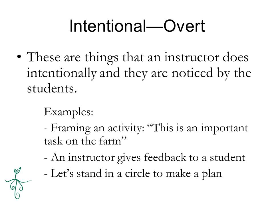 Intentional—Overt These are things that an instructor does intentionally and they are noticed by the students.