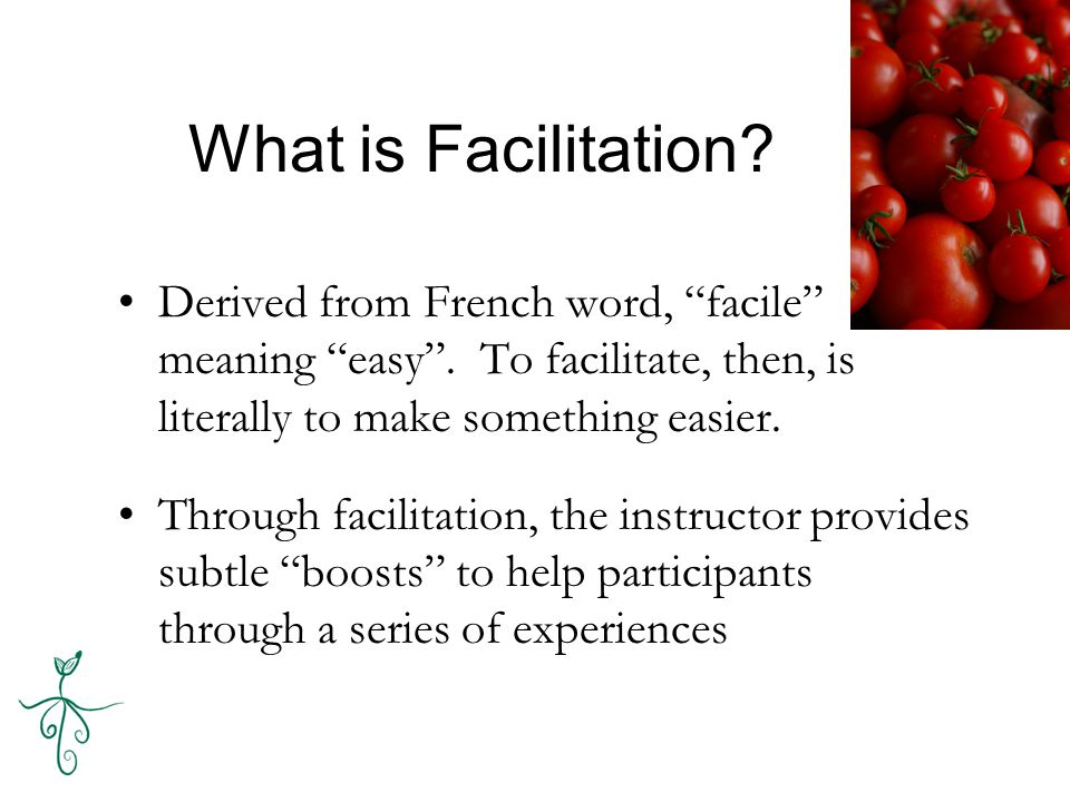 What is Facilitation. Derived from French word, facile meaning easy .