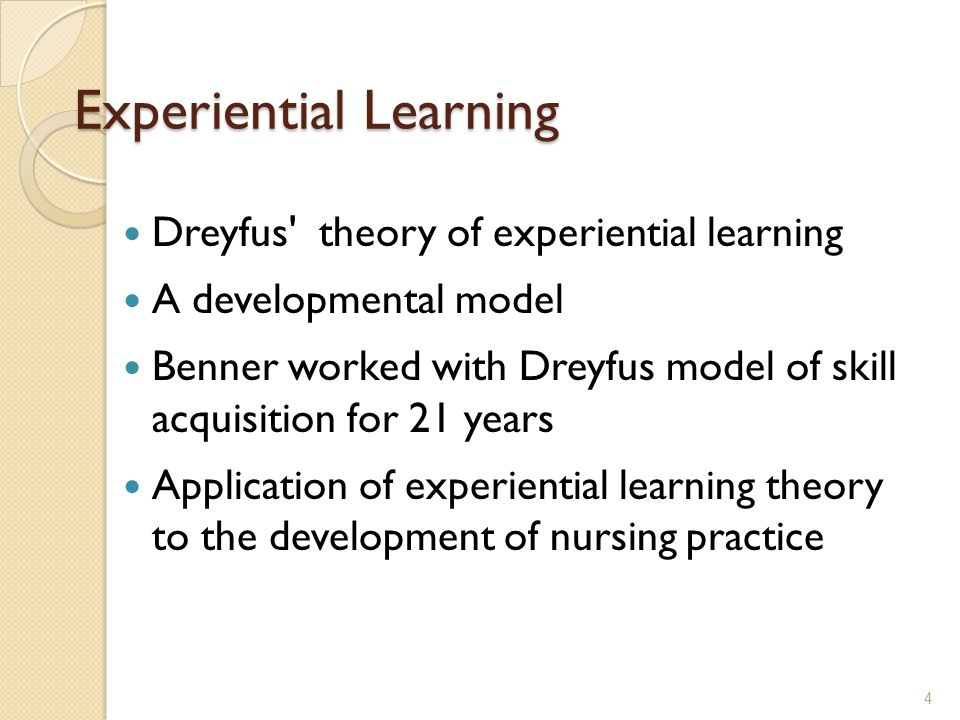 Nursing Requires: Benner writes that nursing requires both Techne and Phronesis Techne – explicit knowledge related to procedural or scientific knowledge Phronesis – is more complex; it is reasoned practice that is developed through experiential learning, where the nurse is continually improving her or his practice 5