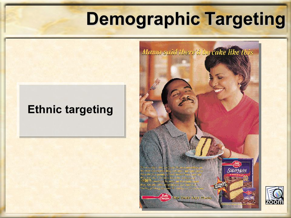 Demographic Targeting Ethnic targeting