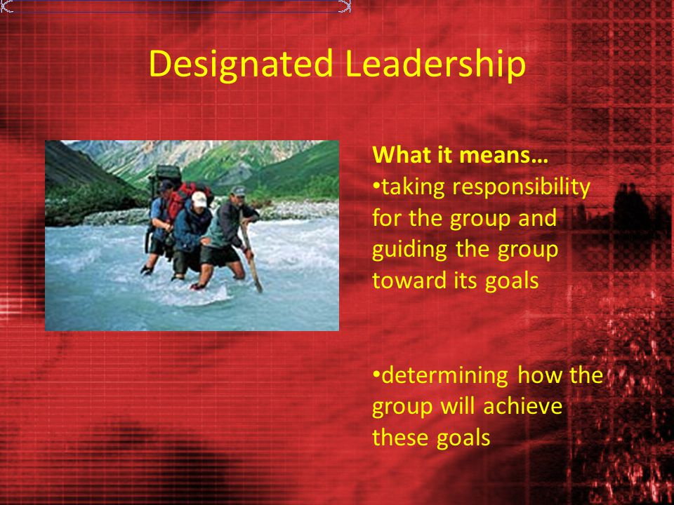 Designated Leadership What it means… taking responsibility for the group and guiding the group toward its goals determining how the group will achieve