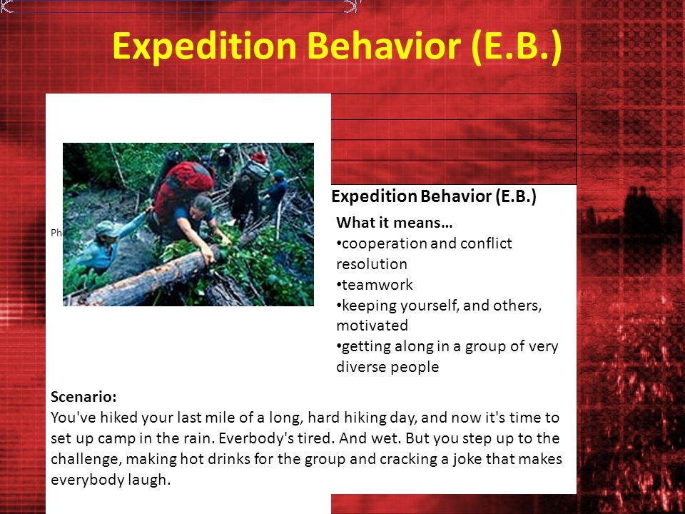Expedition Behavior (E.B.) Photo: Tony Jewell What it means… cooperation and conflict resolution teamwork keeping yourself, and others, motivated getting along in a group of very diverse people Scenario: You ve hiked your last mile of a long, hard hiking day, and now it s time to set up camp in the rain.