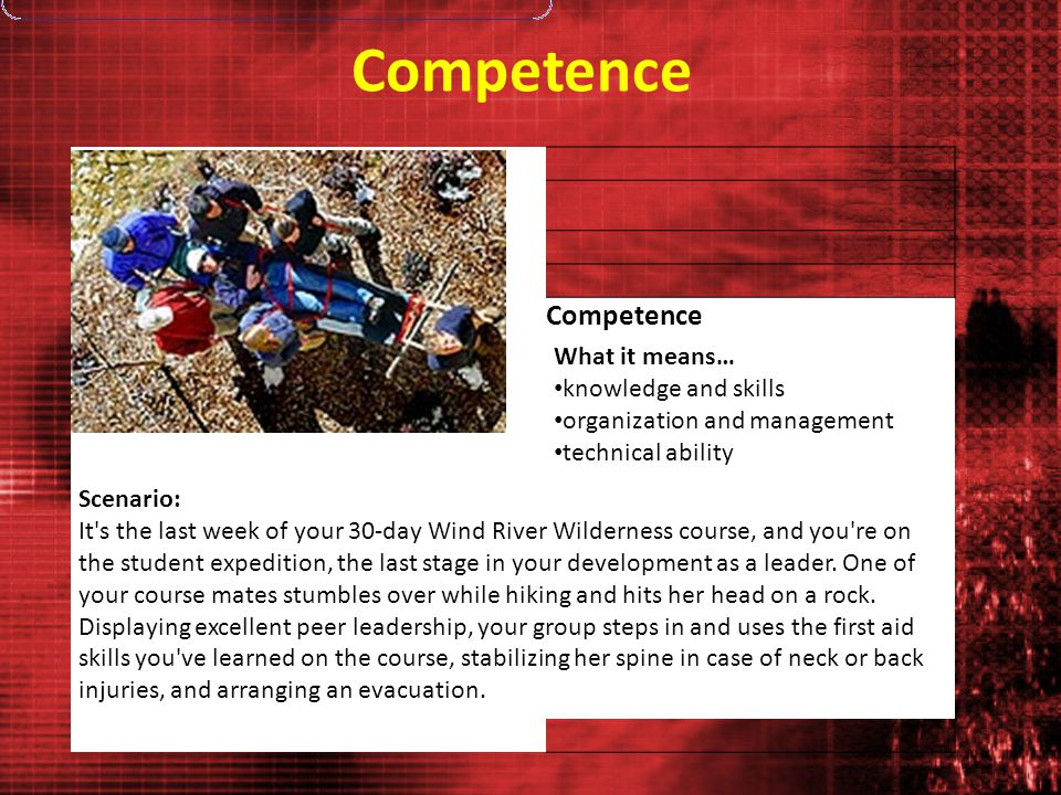 Competence Photo: Brad Christensen What it means… knowledge and skills organization and management technical ability Scenario: It's the last week of y