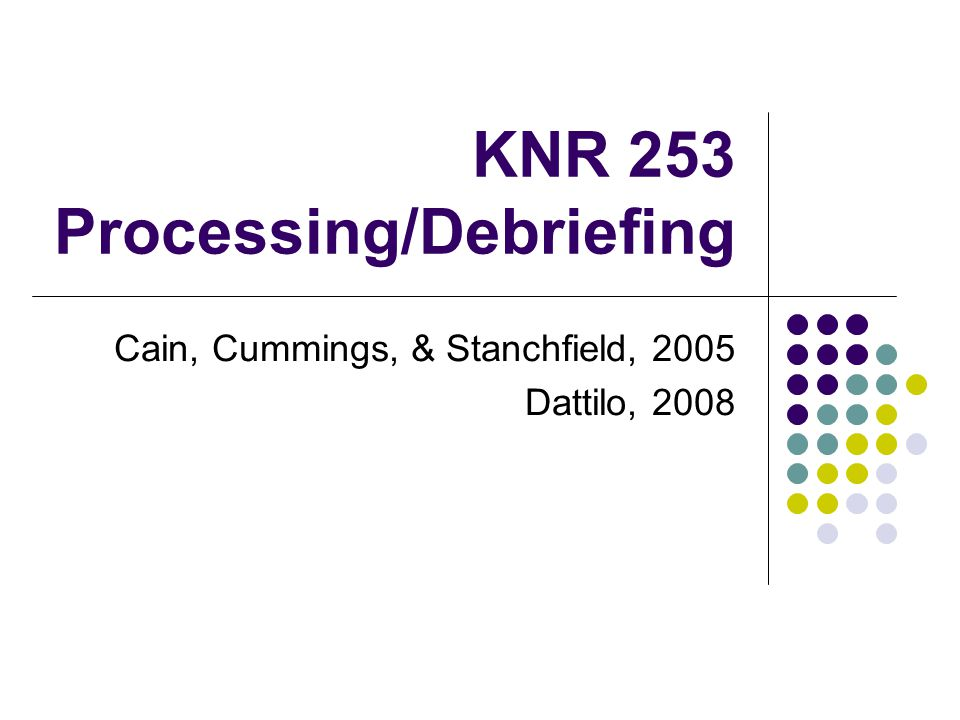 KNR 253 Processing/Debriefing Cain, Cummings, & Stanchfield, 2005 Dattilo, 2008