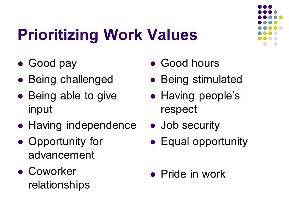 Prioritizing Work Values Good pay Being challenged Being able to give input Having independence Opportunity for advancement Coworker relationships Good hours Being stimulated Having people's respect Job security Equal opportunity Pride in work