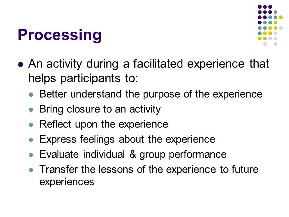 Continuum of Processing Techniques Participant- Facilitator- Centered Centered Processing Processing Mountains SpeakQ&AMetaphoric No Facilitator ManipulationChiji Cards