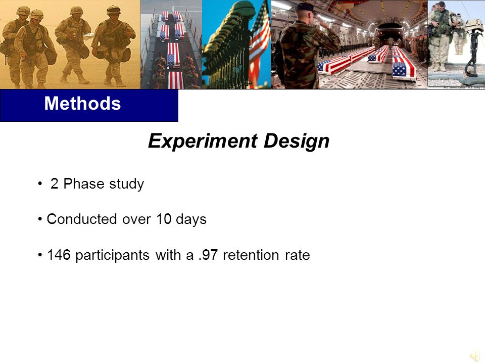 Methods Experiment Design 2 Phase study Conducted over 10 days 146 participants with a.97 retention rate
