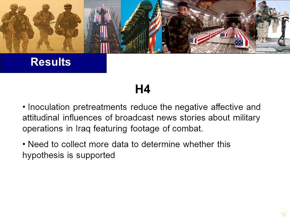 Results H4 Inoculation pretreatments reduce the negative affective and attitudinal influences of broadcast news stories about military operations in Iraq featuring footage of combat.