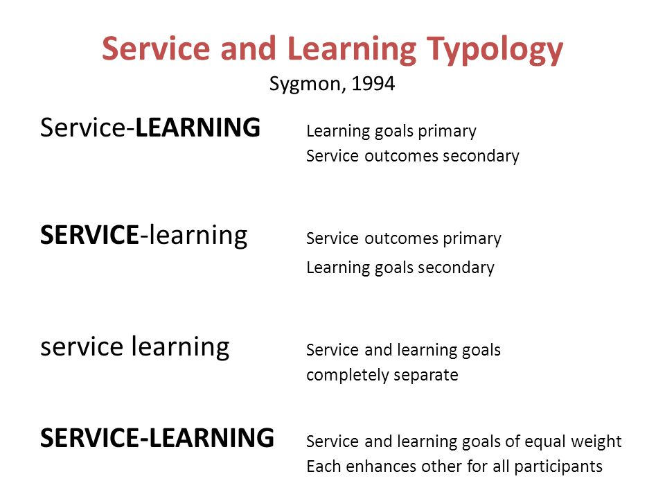 Service and Learning Typology Sygmon, 1994 Service-LEARNING Learning goals primary Service outcomes secondary SERVICE-learning Service outcomes primary Learning goals secondary service learning Service and learning goals completely separate SERVICE-LEARNING Service and learning goals of equal weight Each enhances other for all participants