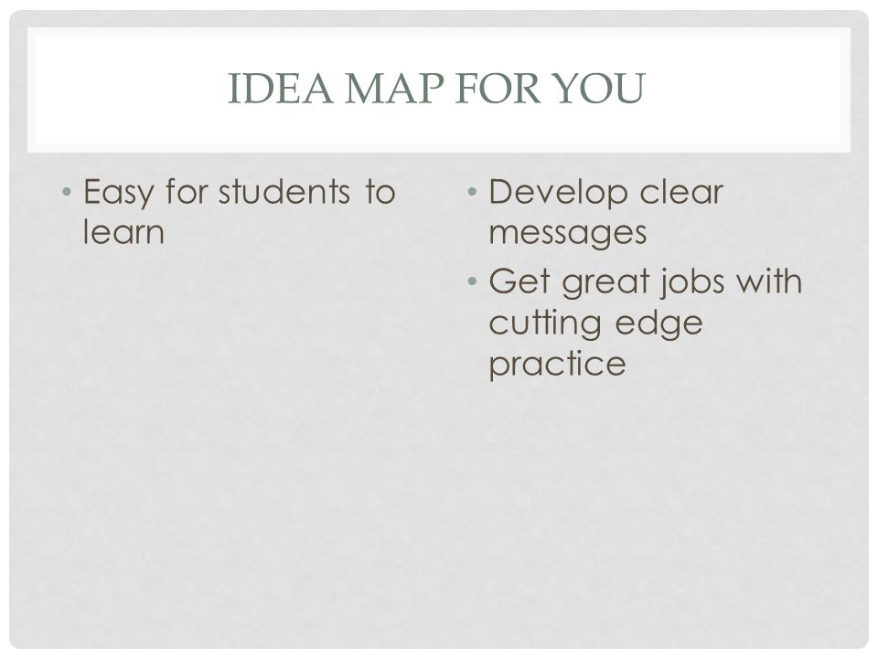 IDEA MAP FOR YOU Easy for students to learn Develop clear messages Get great jobs with cutting edge practice