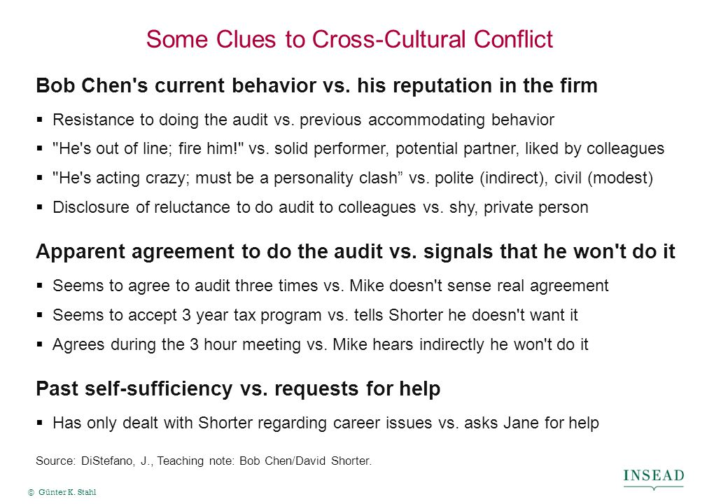 © Günter K. Stahl Some Clues to Cross-Cultural Conflict Bob Chen's current behavior vs. his reputation in the firm  Resistance to doing the audit vs.