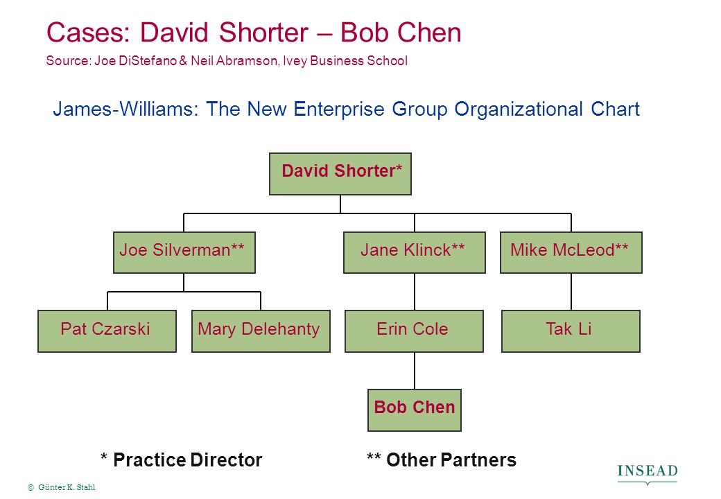 © Günter K. Stahl Cases: David Shorter – Bob Chen Source: Joe DiStefano & Neil Abramson, Ivey Business School * Practice Director** Other Partners Pat