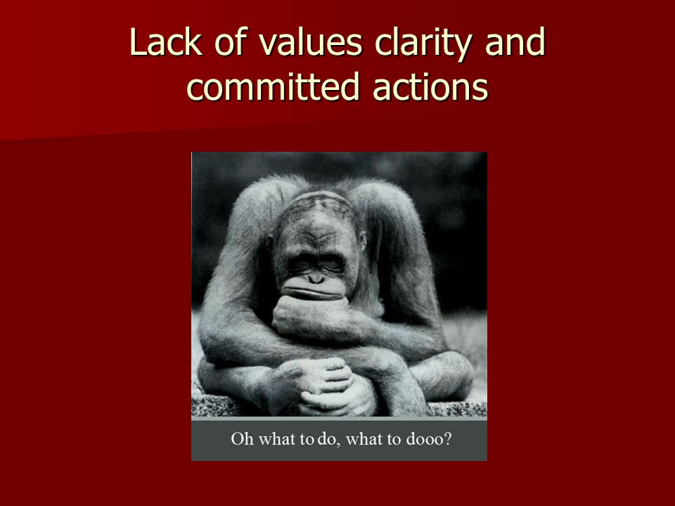 Lack of values clarity and committed actions