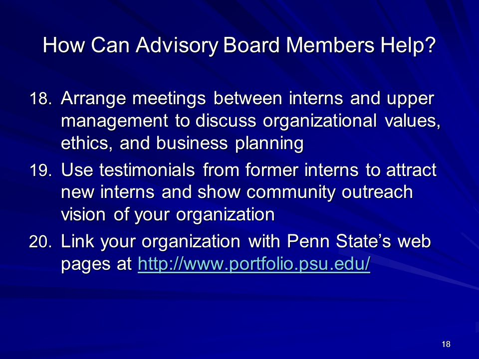 18 How Can Advisory Board Members Help.18.
