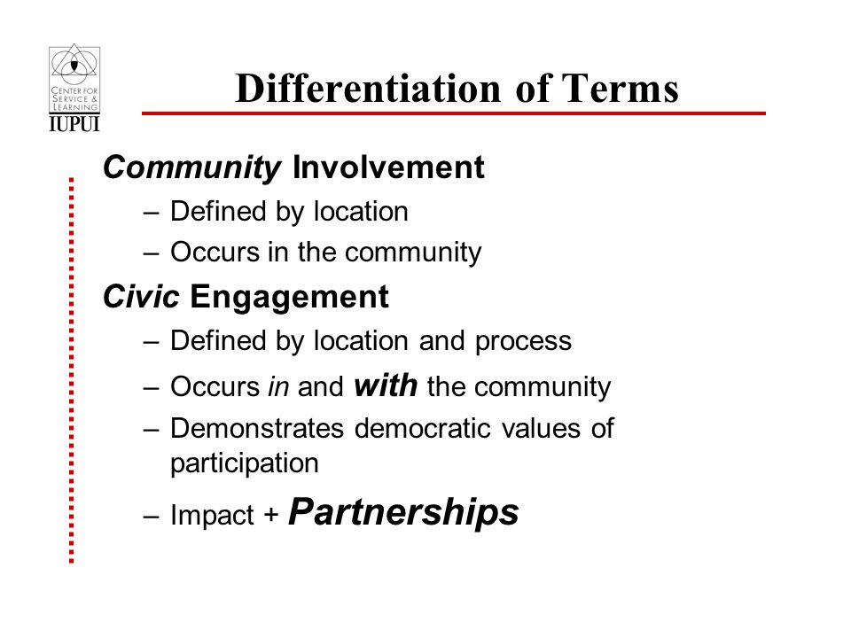 Differentiation of Terms Community Involvement –Defined by location –Occurs in the community Civic Engagement –Defined by location and process –Occurs in and with the community –Demonstrates democratic values of participation –Impact + Partnerships
