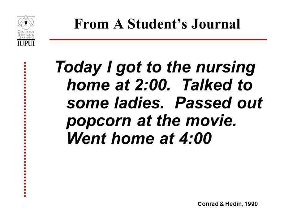 From A Student's Journal Today I got to the nursing home at 2:00.