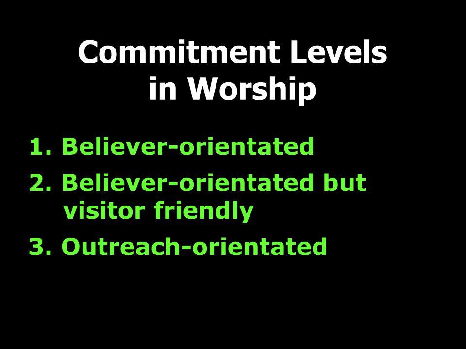 1. Believer-orientated 2. Believer-orientated but visitor friendly 3.