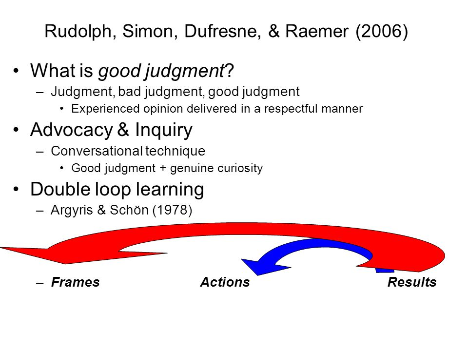 Rudolph, Simon, Dufresne, & Raemer (2006) What is good judgment.