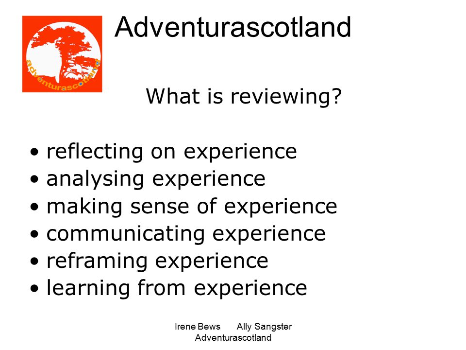 Irene Bews Ally Sangster Adventurascotland What is reviewing.