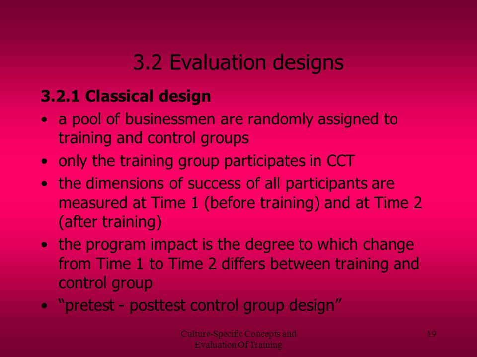 Culture-Specific Concepts and Evaluation Of Training 18 3.