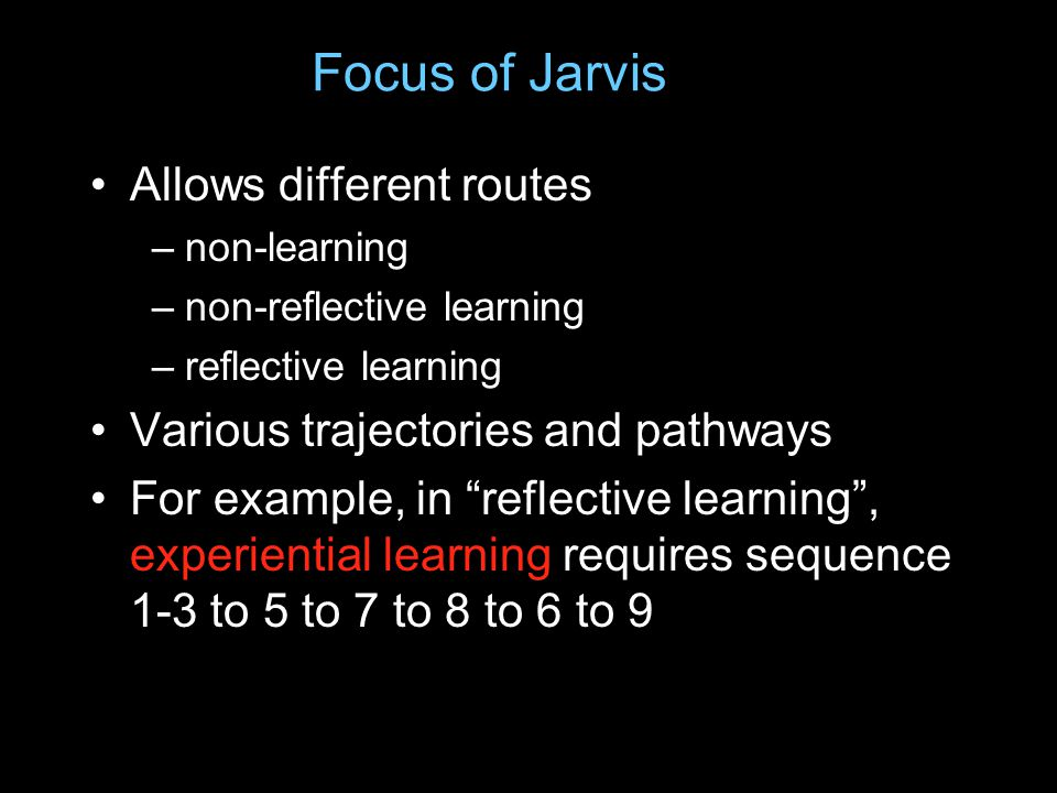 Focus of Jarvis Allows different routes –non-learning –non-reflective learning –reflective learning Various trajectories and pathways For example, in reflective learning , experiential learning requires sequence 1-3 to 5 to 7 to 8 to 6 to 9