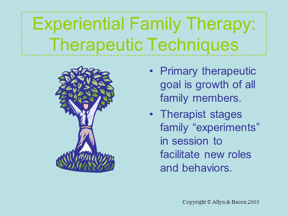 Copyright © Allyn & Bacon 2003 Experiential Family Therapy: Therapeutic Techniques Primary therapeutic goal is growth of all family members.