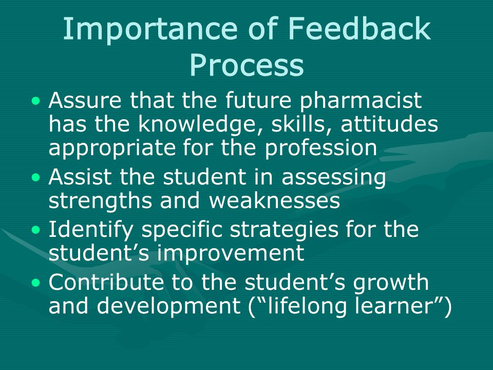 Importance of Feedback Process Assure that the future pharmacist has the knowledge, skills, attitudes appropriate for the profession Assist the student in assessing strengths and weaknesses Identify specific strategies for the student's improvement Contribute to the student's growth and development ( lifelong learner )