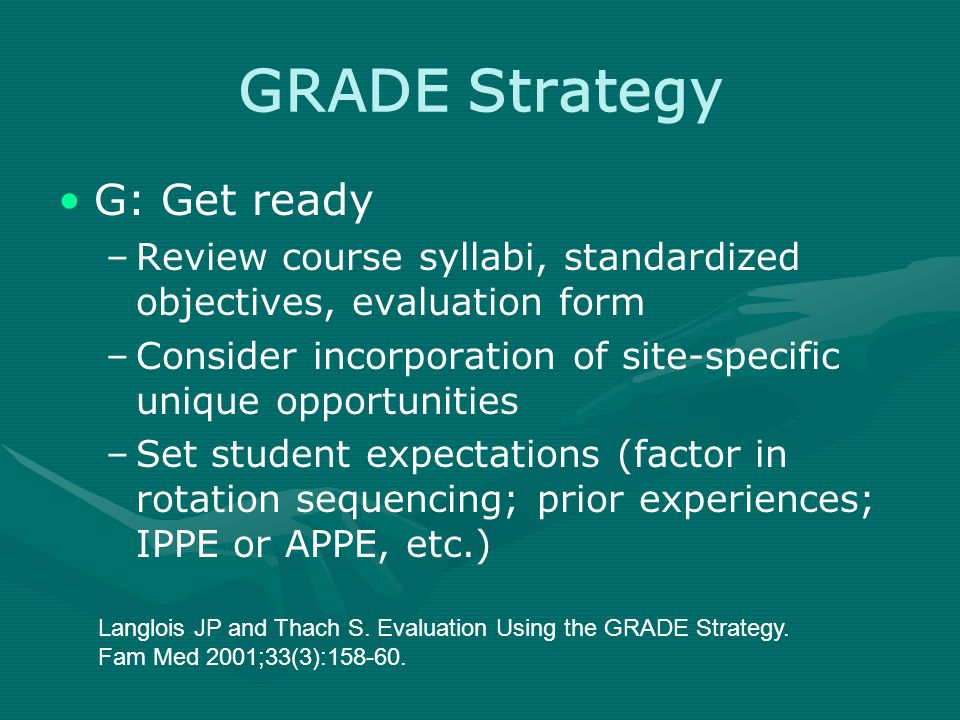 GRADE Strategy G: Get ready –Review course syllabi, standardized objectives, evaluation form –Consider incorporation of site-specific unique opportunities –Set student expectations (factor in rotation sequencing; prior experiences; IPPE or APPE, etc.) Langlois JP and Thach S.