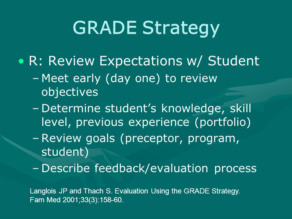 GRADE Strategy R: Review Expectations w/ Student –Meet early (day one) to review objectives –Determine student's knowledge, skill level, previous experience (portfolio) –Review goals (preceptor, program, student) –Describe feedback/evaluation process Langlois JP and Thach S.