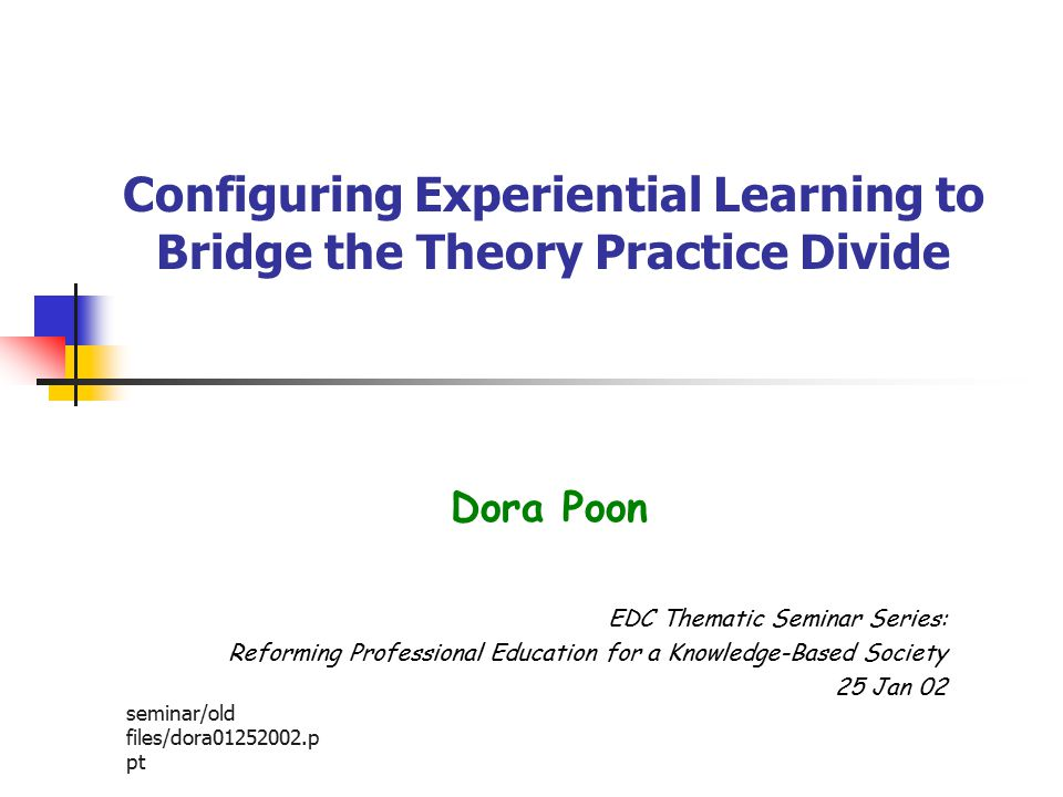 seminar/old files/dora01252002.p pt Configuring Experiential Learning to Bridge the Theory Practice Divide Dora Poon EDC Thematic Seminar Series: Reforming Professional Education for a Knowledge-Based Society 25 Jan 02