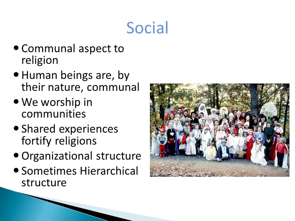 Material Physical objects of a religion Places/implements of worship.